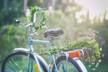 Flowers and garland on bicycle in gardenの写真素材 [FYI02173296]