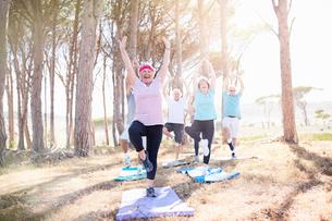 Senior adults practicing yoga in sunny parkの写真素材 [FYI02173713]