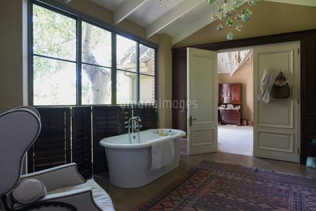 Home showcase bathroom with soaking tubの写真素材 [FYI02173775]