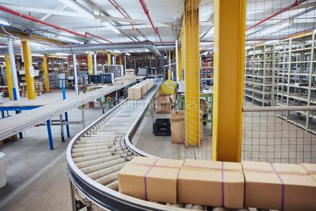 Cardboard boxes on conveyor belt in distribution warehouseの写真素材 [FYI02174030]