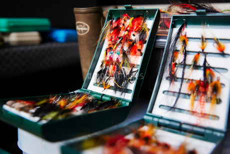 Fly fishing hook reels in tackle boxesの写真素材 [FYI02174748]