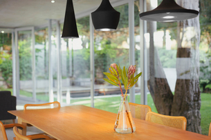 Modern black pendant lights hanging over bouquet on dining room tableの写真素材 [FYI02175575]