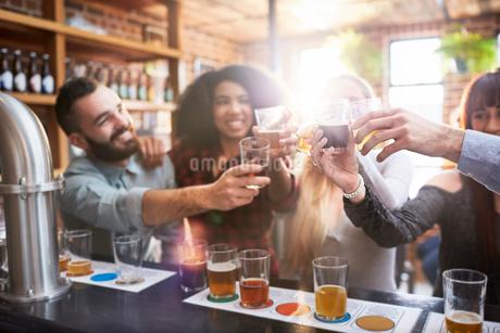 Friends beer tasting, toasting beer glasses in pubの写真素材 [FYI02176122]