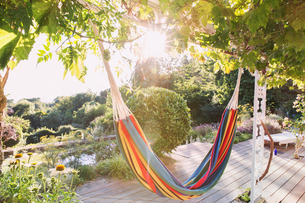 Multicolor hammock hanging from trees in tranquil sunny summer gardenの写真素材 [FYI02176328]