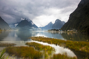 Tranquil lake and mountains, Milford Sound, South Island, New Zealandの写真素材 [FYI02176370]