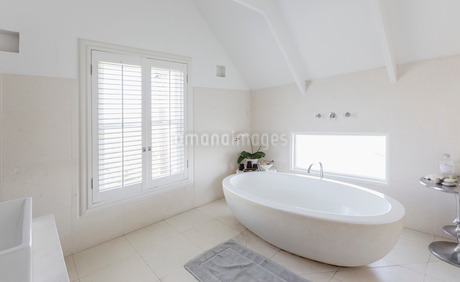 Modern luxury white round soaking bathtub in bathroomの写真素材 [FYI02176451]