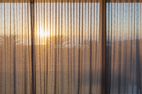 Tranquil sunset behind gauze curtainsの写真素材 [FYI02176592]