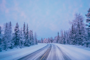 Remote winter road through snow covered forest trees against blue sky, Lapland, Finlandの写真素材 [FYI02176730]