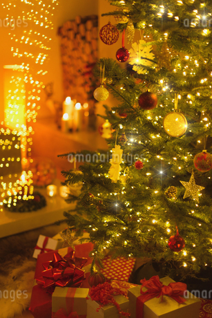 Gifts under illuminated Christmas treeの写真素材 [FYI02176916]