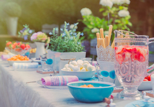 Strawberry water and desserts on garden party patio tableの写真素材 [FYI02176997]