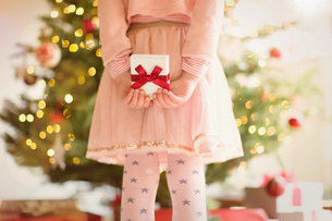 Girl in pink dress holding Christmas gift behind back in front of Christmas treeの写真素材 [FYI02177008]