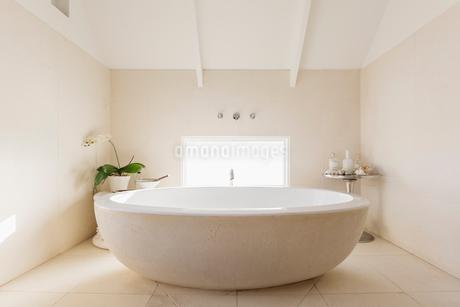Round modern white luxury soaking bathtubの写真素材 [FYI02177064]