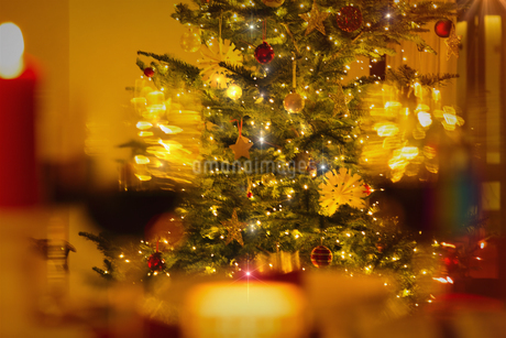 Illuminated Christmas tree with ornaments and string lightsの写真素材 [FYI02177068]
