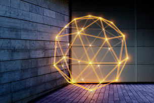 Illuminated geometric pentakis dodecahedron, technology connection conceptの写真素材 [FYI02177132]