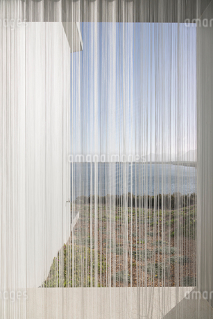 Gauze curtains in sunny, tranquil window with ocean viewの写真素材 [FYI02177146]