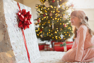 Girl smiling in anticipation at large Christmas gift near Christmas treeの写真素材 [FYI02177162]