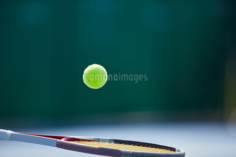Tennis ball bouncing on tennis racketの写真素材 [FYI02177748]