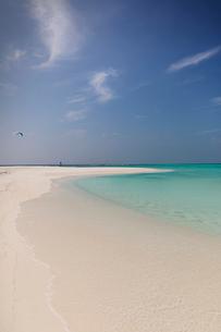 Tranquil tropical ocean beach under sunny blue skyの写真素材 [FYI02177823]