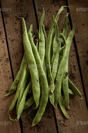 Still life close up fresh, organic, healthy, rustic, dirty green bean pods on woodの写真素材 [FYI02178044]