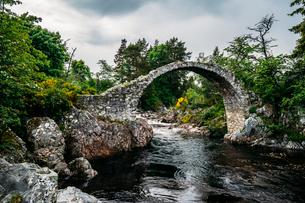Arched footbridge over tranquil stream, Carrbridge, Scotlandの写真素材 [FYI02178073]