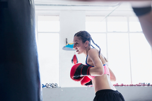 Determined young female boxer boxing at punching bag in gymの写真素材 [FYI02178126]