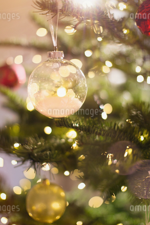 Close up snow ornament hanging from Christmas treeの写真素材 [FYI02178310]