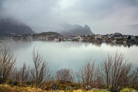 Fishing village along calm lake, Reine, Lofoten, Norwayの写真素材 [FYI02178575]