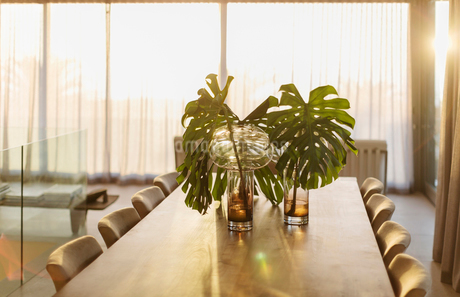 Tropical plant leaves in vases on dining tableの写真素材 [FYI02178622]