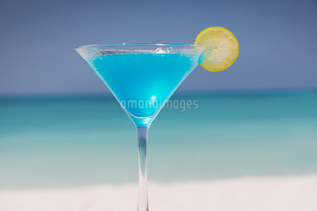Blue cocktail with lemon slice in martini glass on tropical ocean beachの写真素材 [FYI02178624]