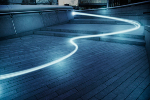 Fiber optic light trail communication technology streaming, conceptの写真素材 [FYI02179101]