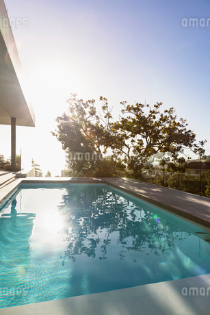 Tranquil sunny reflection of tree over lap swimming pool on luxury patioの写真素材 [FYI02179456]