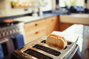 Toast in toaster in kitchenの写真素材 [FYI02179696]