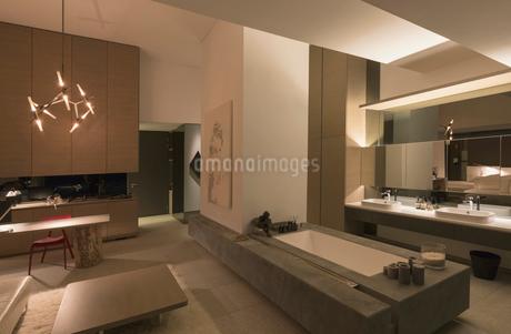 Illuminated modern, luxury home showcase interior bathroomの写真素材 [FYI02179926]