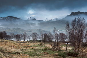 Fog around calm, rugged mountains, Andopen, Lofoten, Norwayの写真素材 [FYI02179945]