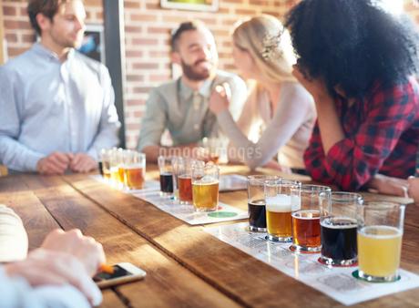 Friends tasting beer samples at breweryの写真素材 [FYI02180120]