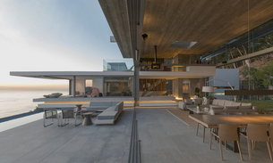 Modern, luxury home showcase living room and patioの写真素材 [FYI02180221]