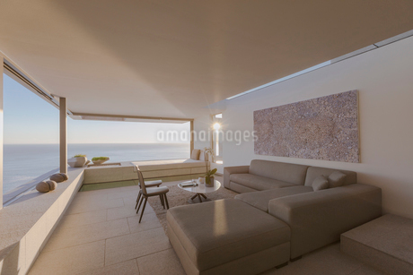 Modern, luxury home showcase interior living room with ocean viewの写真素材 [FYI02180570]