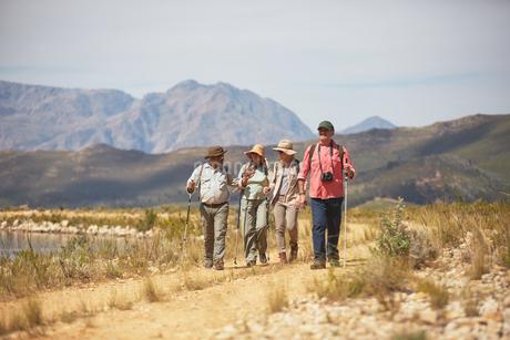 Active senior friends hiking along arid summer landscapeの写真素材 [FYI02180641]