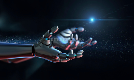 Computer generated image robot arms outstretchedの写真素材 [FYI02181169]