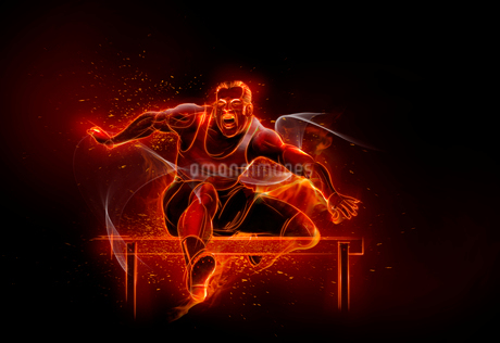 Computer generated image track and field athlete jumping hurdlesの写真素材 [FYI02181199]
