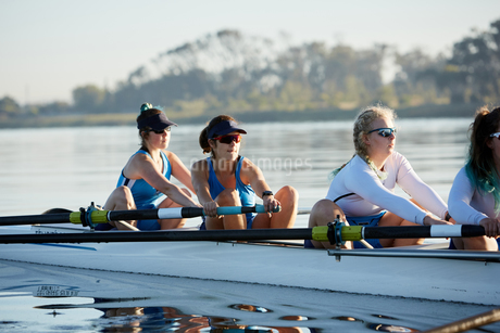 Female rowing team rowing scull on sunny lakeの写真素材 [FYI02181254]