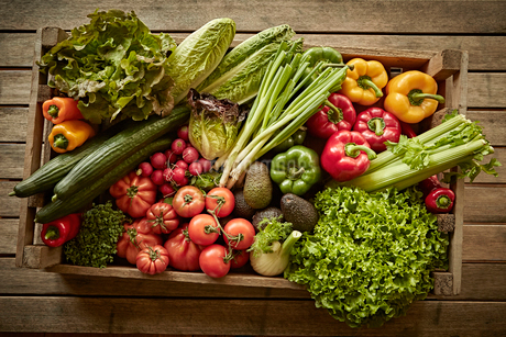 Still life fresh, organic, healthy vegetable harvest variety in wood crateの写真素材 [FYI02181702]