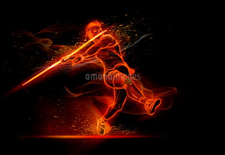 Computer generated image track and field athlete throwing javelinの写真素材 [FYI02182268]