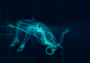 Computer generated image x-ray skeleton track and field athlete high jumpingの写真素材 [FYI02182345]