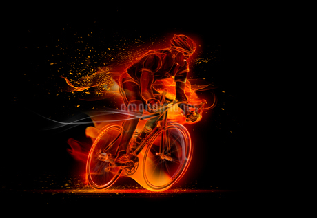 Computer generated image of male cyclist cyclingの写真素材 [FYI02182414]