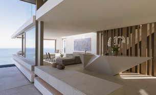 Modern, luxury home showcase interior with ocean viewの写真素材 [FYI02182499]