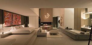 Illuminated modern, luxury home showcase bedroomの写真素材 [FYI02182599]