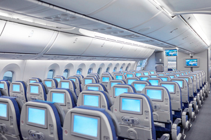 Rows of seats with entertainment screens on airplaneの写真素材 [FYI02182616]