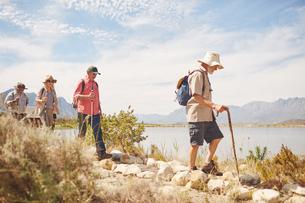 Active senior friends hiking along sunny summer lakeの写真素材 [FYI02182654]