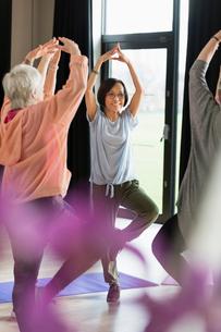Smiling active senior woman exercising, practicing yoga tree poseの写真素材 [FYI02183217]